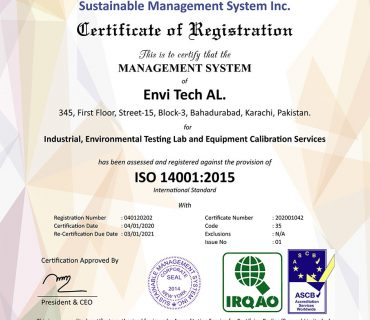 Envi Tech AL, successfully qualifies & received Certificate of ISO 14001:2015