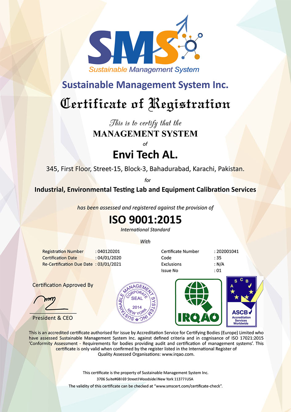 Successfully Qualifies & Received Certificate of ISO 9001:2015